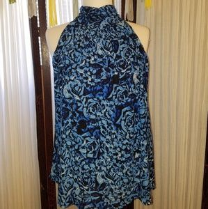 Cable and gauge sleeveless blouse in blue